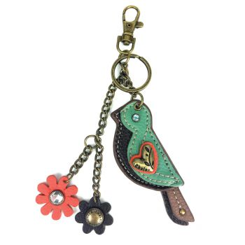 Mini Keychain - Bird - teal (w/ flower charm)