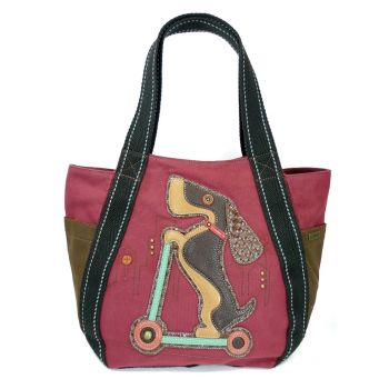 Wiener Dog Scooter - Carryall Zip Tote