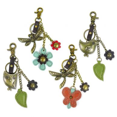 Owl, Bird, & Dragonfly - Value Pack of 8 Assorted Keychains