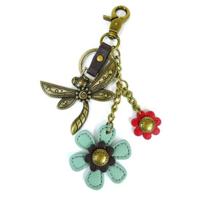 Charming Key Chain - Dragonfly & Flower
