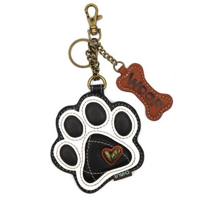 B&W Pawprint - Key Fob/Coin Purse