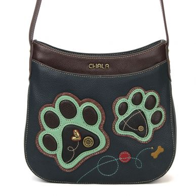 Teal Paw Print - Crescent Crossbody