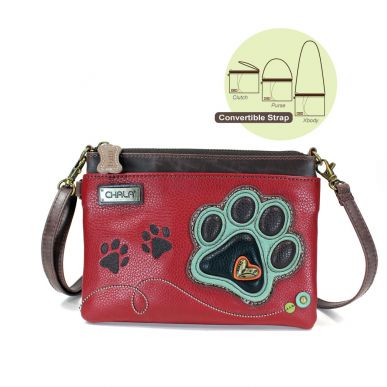 Teal Paw Print - Mini Crossbody (Burgundy)
