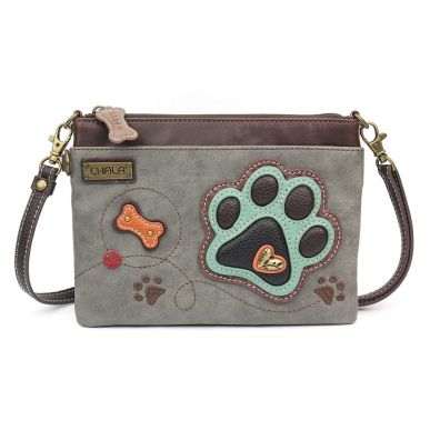 Teal Paw Print (Gray) - Mini Crossbody