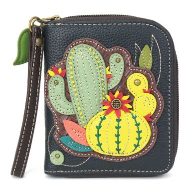 Zip-Around Wallet -Cactus-Navy