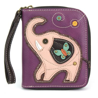Pink Elephant - Zip Around Wallet