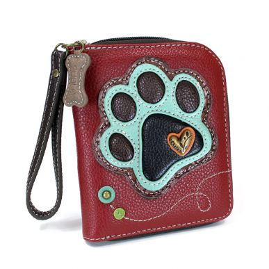 Teal Paw Print - Zip Around Wallet