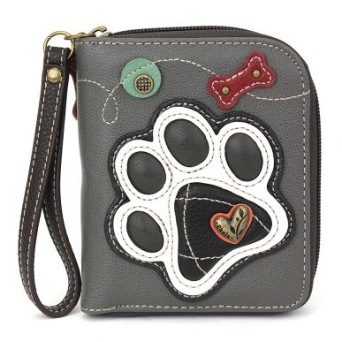 Zip-Around Wallet - blackPawprint -gray