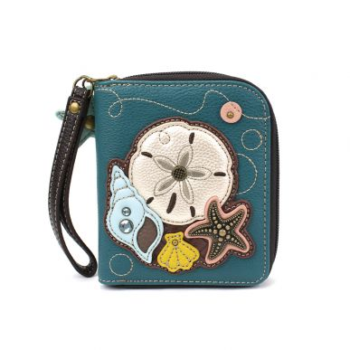 Zip-Around Wallet - Sand Dollar - Teal