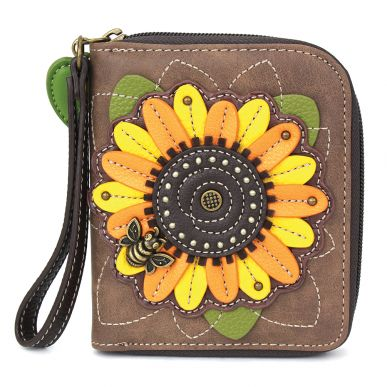 Zip-Around Wallet -Sunflower-Brown