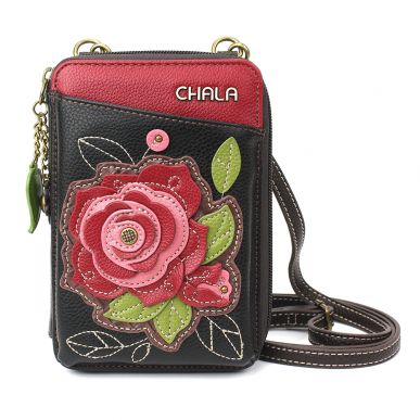 Wallet Crossbody - Red Rose - Burgundy