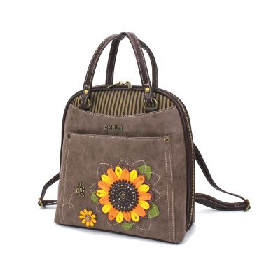 Convertible Backpack Purse - Sunflower - Stone Gray