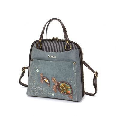 Convertible Backpack Purse - Turtle - Indigo