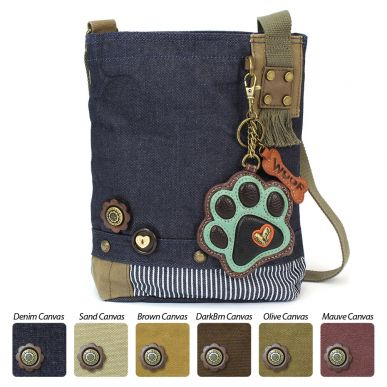 Teal Paw Print - Patch Crossbody Bag