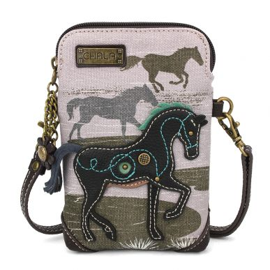 Safari Horse Canvas Cellphone Crossbody - Gray